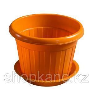 Горшок для цветов, размер, d-150мм, H-120, цвет  оранжевый, пластик