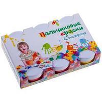 Краски пальчиковые, 6 цветов, 360 гр, сенсорные, для малышей.