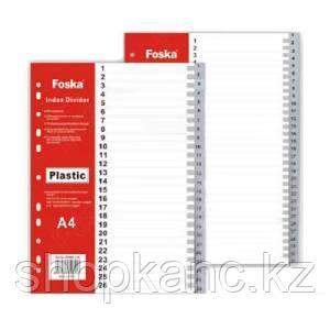 Разделитель 1-12, А4, 12л, пластик,серый Foska