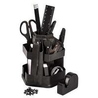 Настольный офисный набор, 17 предметов, Офисный, пластик, вращающийся, черный.