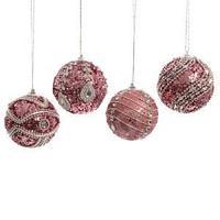 Шар в ассортименте 4 ярко-розовый со стразами d8см