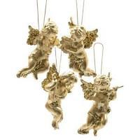 Декор Ангелочки в ассортименте золотые пластиковые