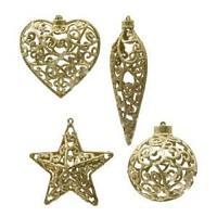 Декор Звезда/Сердце/Сосулька/Шар в ассортименте 4 золотистые ажурные