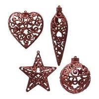 Декор Звезда/Сердце/Сосулька/Шар в ассортименте 4 красные ажурные