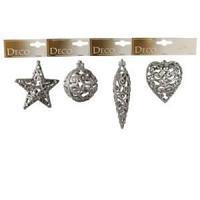 Декор Звезда/Сердце/Сосулька/Шар в ассортименте 4 серебристые ажурные