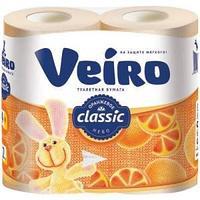 """Бумага туалетная Veiro """"Classic"""" 2-слойная, 4шт., ароматизир., тиснение, желтая"""