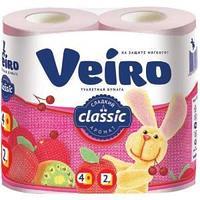 """Бумага туалетная Veiro """"Classic"""" 2-слойная, 4шт., ароматизир., тиснение, розовая"""