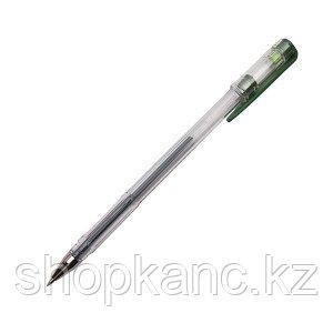 Ручка гелевая, цвет чернил зелёный, 0,5 мм, прозрачный корпус.