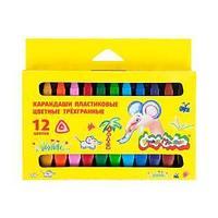 Восковые карандаши Каляка-Маляка 12 цветов двусторонние, трехгранные