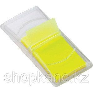 Клейкие листки-индексы пластиковые, цвет желтый, 50 листов