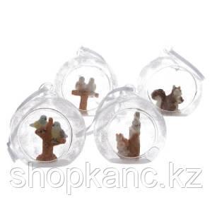 Шар стекл. прозрачный с белками, птичками d7cм