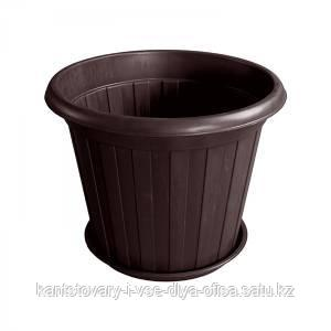 Горшок для цветов, размер, d-150 мм, H-120, цвет коричневый, пластик.