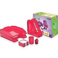 Настольный набор СОЧНЫЙ ОФИС №1,НН12,  вишня  (6 предметов), красный