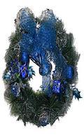 Рождественский венок, 30 см., украшение синие.