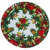 Поднос сервировочный, пластик, круглый, новый год,  диаметр 31 см.