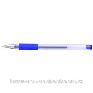 Ручка гелевая, цвет чернил синий, 0,5 мм, прозрачный корпус, с резиновым держателем
