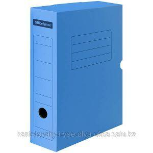 Короб архивный с клапаном, микрогофрокартон, 75 мм, синий.