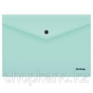 """Папка-конверт на кнопке Berlingo """"Instinct"""", А4, 180мкм, мятный"""