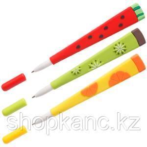 """Ручка шариковая MESHU """"Fruits"""" синяя, 0,7мм, софтач, корпус ассорти"""