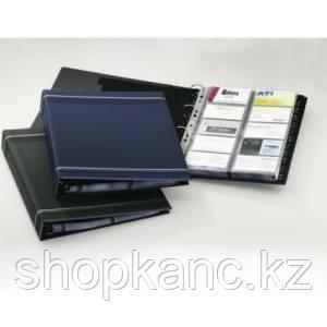 Визитница на 400 визиток, 255x315 мм, разделитель A-Z, колц.механизм, темно-синяя