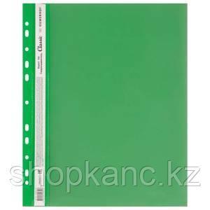 Скоросшиватель пласт, А4,0.12/0.14мм, CLASSIC, унив перф, фактура гладь, зеленый.