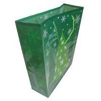 Новогодний подарочный пакет, пластик с изображением ель, размер: 28,5x37x10 см.