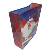 Новогодний подарочный пакет, пластик с изображением дед мороза, размер: 28,5x37x10 см.