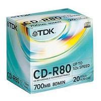 Диск TDK, CD-R, 700 Mb, 52х, Slim.