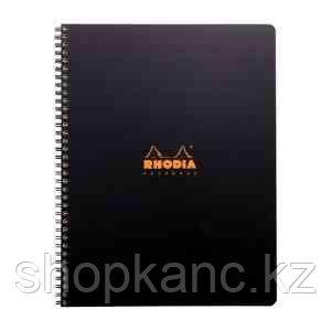 "Бизнес-тетрадь 80л., А4+, клетка на гребне Rhodia ""Active"", 90г/м2, пластик.обложка, линейка, заклад"