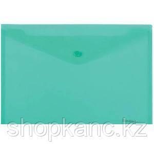Папка-конверт на кнопке А4, 180мкм, зеленая