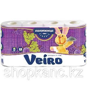 """Полотенца бумажные в рулонах Veiro """"Classic"""", 2-слойные, 12,5м/рул, тиснение, белые, 4шт."""