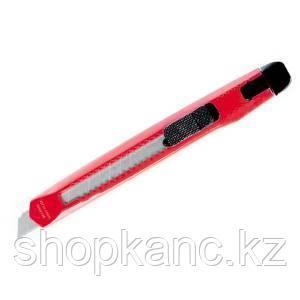 Нож канцелярский 9 мм, пластиковый, цвет красно-черный.