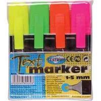 Набор текстовыделителей, 4 цвета, 1-5 мм, скошенный, полупрозрачный пластик.