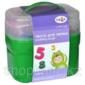 """Тесто для лепки Гамма """"Малыш. Учимся считать"""", 04 цвета*60г, 15 формочек, пластиковый кейс"""