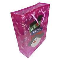 Новогодний подарочный пакет, пластик с изображением снеговика, цвет красный, размер: 28,5x37x10 см.