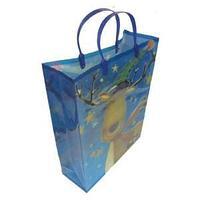 Новогодний подарочный пакет, пластик с изображением оленя, цвет синий, размер: 28,5x37x10 см.