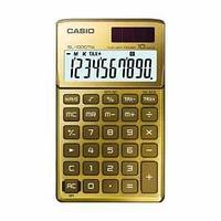 Калькулятор карманный, 10 разрядный CASIO SL-1000TW-GD-S-EH, цвет золотистый.