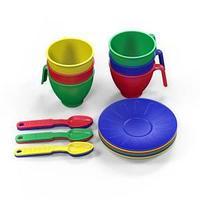 Набор посуды  из пластика 18 предметов, цвет ассорти