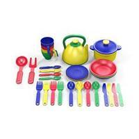 Набор посуды  из пластика 32 предметов, цвет ассорти