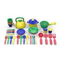Набор посуды  из пластика 37 предметов, цвет ассорти