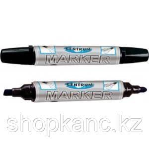 Маркер перманентный черный двусторонний со скошенным и круглым наконечниками