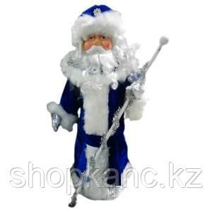 """Кукла """"Дед Мороз"""" - одет в синий кафтан с белым мехом, размер 65 см."""