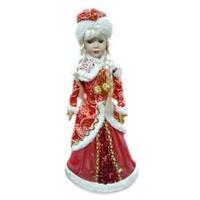 """Кукла """"Снегурочка"""" - одета в красный кафтан с белым мехом, высота 37 см"""