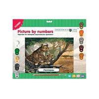 Картина по номерам А3, Леопарды, с акриловыми красками.