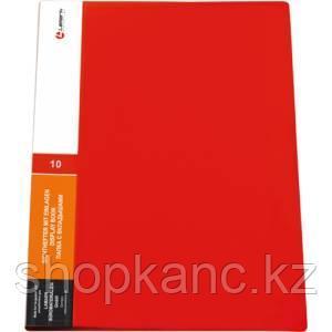 Папка с 10 вкладышами, 0,60 мм, красная, корешок 11 мм, карман на корешке