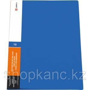 Папка с 30 вкладышами, 0,60 мм, синяя, корешок 20 мм, карман на корешке