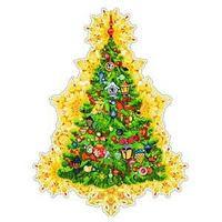 """Новогоднее оконное украшение """"Искрящаяся елка"""", 30*40см"""