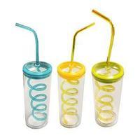 Стакан пластиковый с крышкой и соломинкой для питья ассорт.цветов