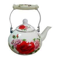 Чайник эмалированный, цвет белый, цветы розы, 3 л.
