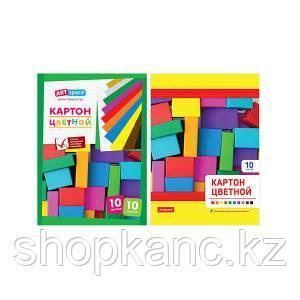 Набор цветного картона, 10 цветов, немелованный.
